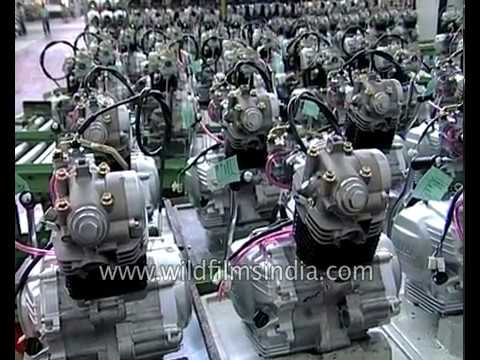 Yamaha motorcycle engines being made at Yamaha motorcycle factory in India