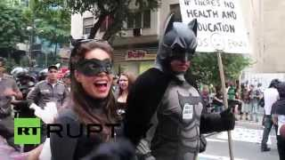Brazil: Batman and Catwoman join anti-World Cup demo