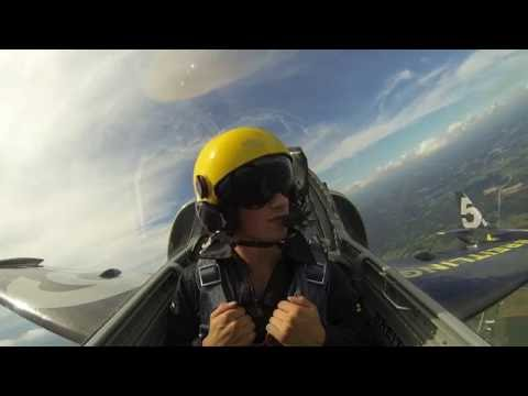 Red Wings Dylan Larkin Flight with Breitling Jet Team