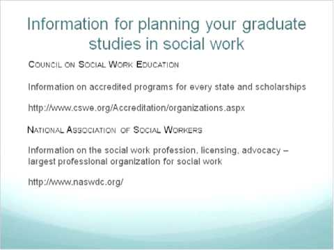 Planning for Graduate Studies in Social Work