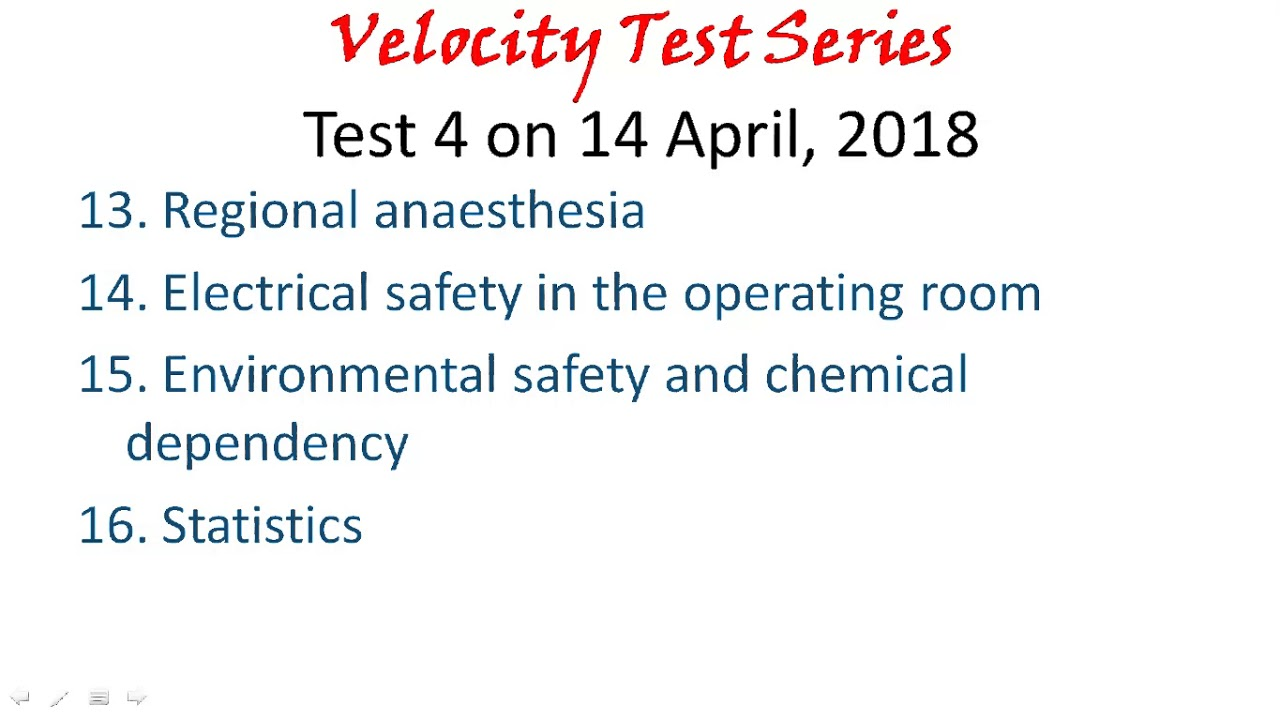 Velocity Test Series Critical Care Topics and Schedule