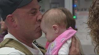 Marine returns home and meets daughter