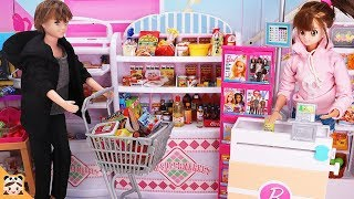 신비아파트 마트놀이 ! 계산대 장보기 놀이 식완 미니어쳐 인형 쇼핑 카트놀이 어린이 강림 하리 리온 삼각관계 Barbie Grocery Store Supermarket| 보라미TV