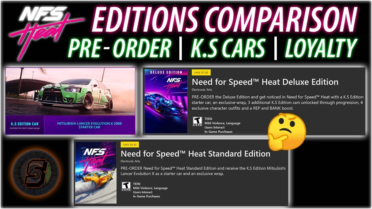 NFS Heat EDITIONS COMPARISON Pre-Order, Loyalty, K.S Cars, Standard, Deluxe, EA Access + Ultimate
