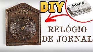 DIY: Como Fazer RELÓGIO com JORNAL e PAPELÃO (Artesanato e Reciclagem)