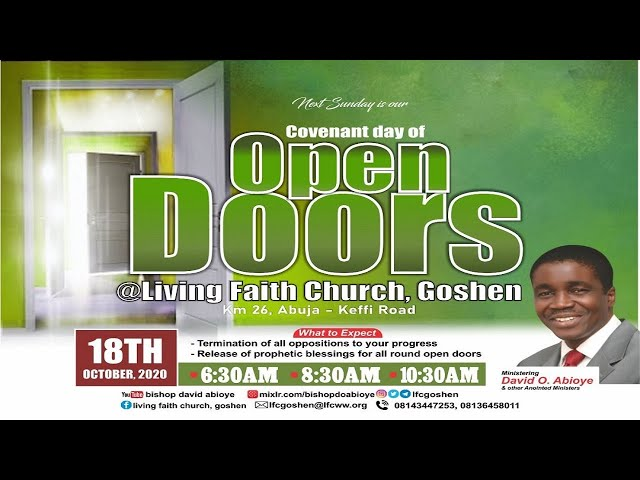 COVENANT DAY OF OPEN DOORS - 1ST SERVICE   0CTOBER 18, 2020