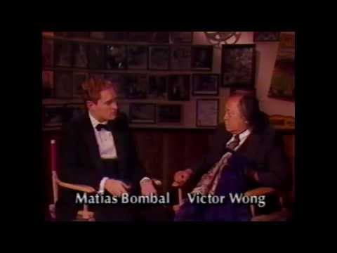 Matías Bombal talks with actor Victor Wong 1992  MAB Archives