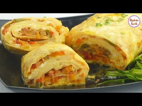 শীতের সবজি আর ডিম দিয়ে স্বাস্থ্যকর ও মজার নাস্তা | Sobji dimer Nasta | Vegetable Rolled Egg Omelet