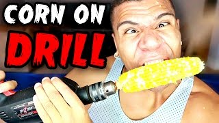 DANGEROUS CORN ON A DRILL CHALLENGE!!