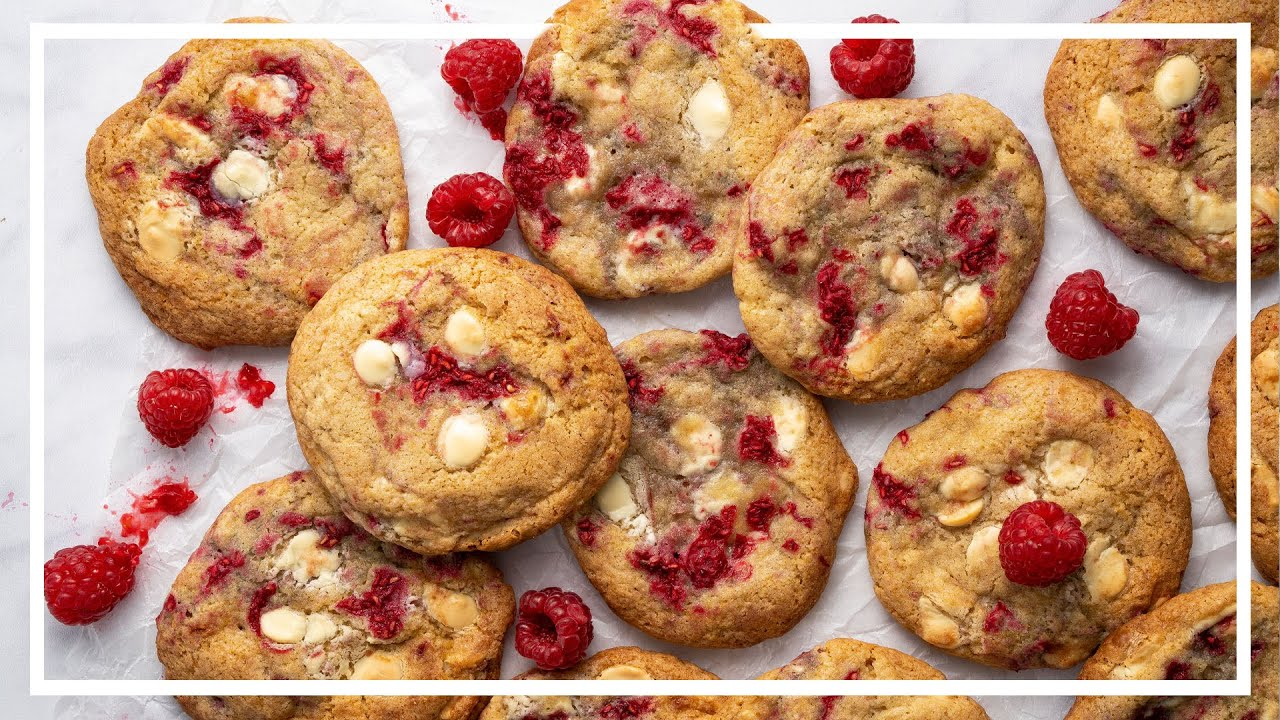 White Chocolate & Raspberry Cookies Recipe 🍪 Baking with Becky