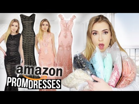 TRYING ON AMAZON PROM DRESSES!! *Huge Success*
