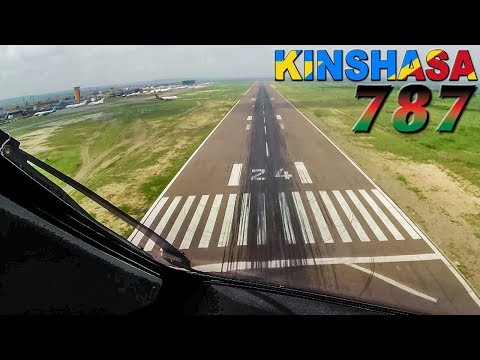 BOEING 787 Cockpit Views into KINSHASA