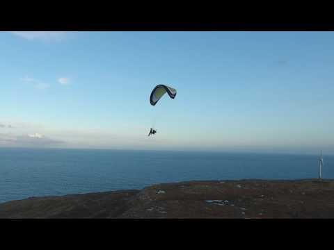 Paramotor flying in Neshaga, Faroe Islands