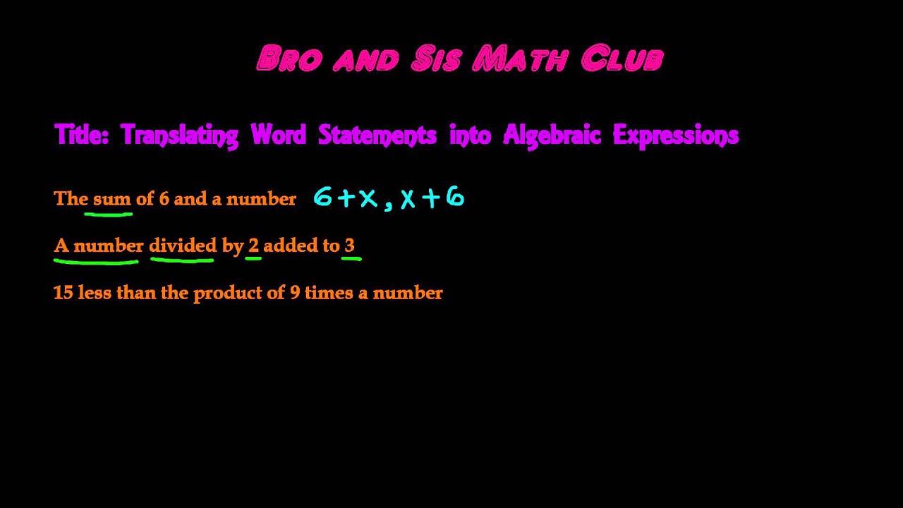 worksheet Algebra 1 Worksheet 1.5 Translating Expressions translating word statements into algebraic expressions algebra i i