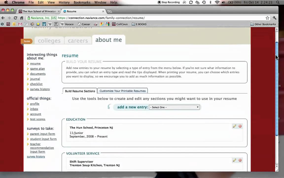 Hun Class Of 2013 Naviance Tutorial 3 Resume Builder YouTube