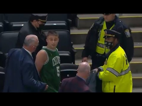 Celtics Fan Throws Water Bottle At Kyrie Irving And Gets Arrested, By: Vinny Lospinuso - Vlog