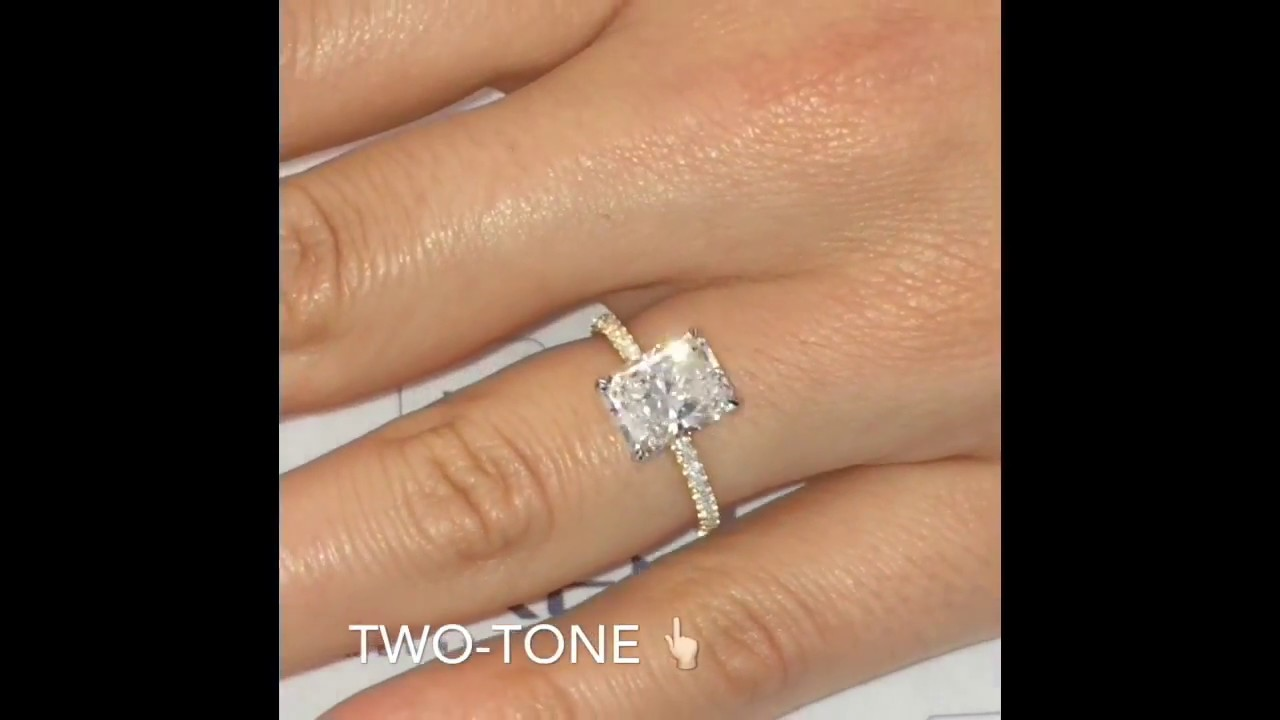 2.5 carat Radiant Cut Diamond Two-Tone Solitaire Engagement Ring