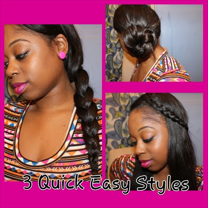 3 Quick Easy Hair Styles w Your Sew in or Upart  YouTube