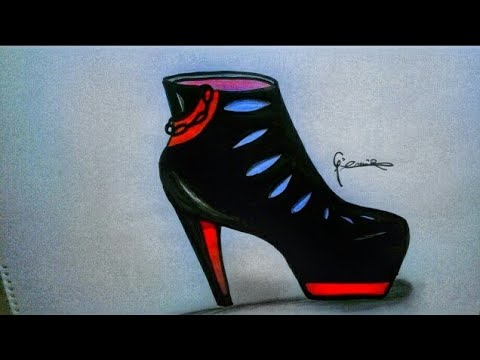 Basit Topuklu Ayakkabı çizimi Simple Heeled Shoes Drawing