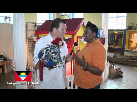 A visit to the Museum of Antigua and Barbuda - Joey Stevens and Bob the Parrot
