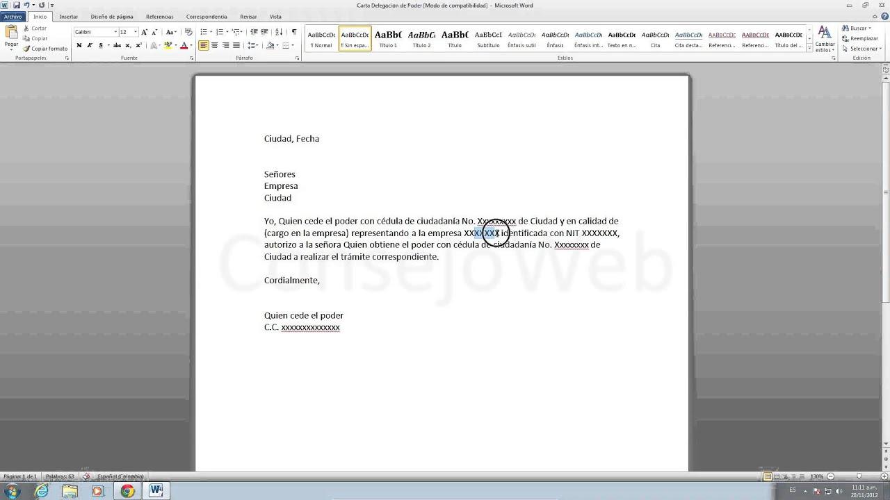 como hacer una carta de delegacion de poder en word 2010