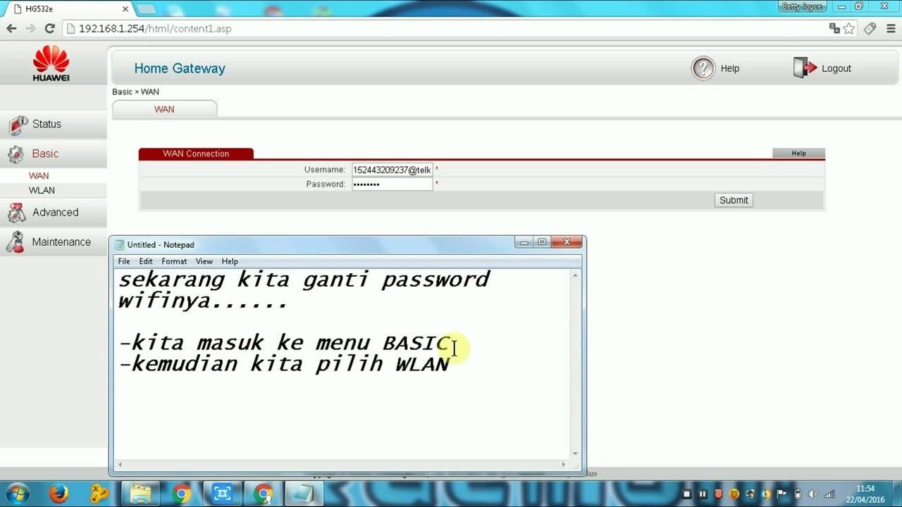 CARA GANTI PASSWORD WIFI HUAWEI - YouTube