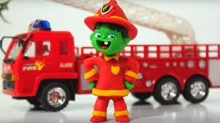 BABY HULK NEW FIREMAN SAVES THE CAT ❤ Spiderman, Hulk & Frozen Play Doh Cartoons For Kids