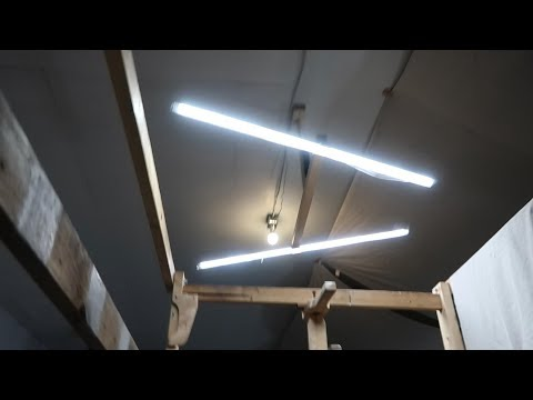 Shop lights offset from ceiling