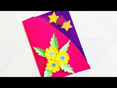 3D ОТКРЫТКА Цветы из бумаги своими руками  Как сделать на 8 марта ОРИГАМИ /Подарок маме / Эмилия