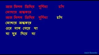 Aaj milan tithir - Kishore Kumar Bangla Karaoke with Lyrics