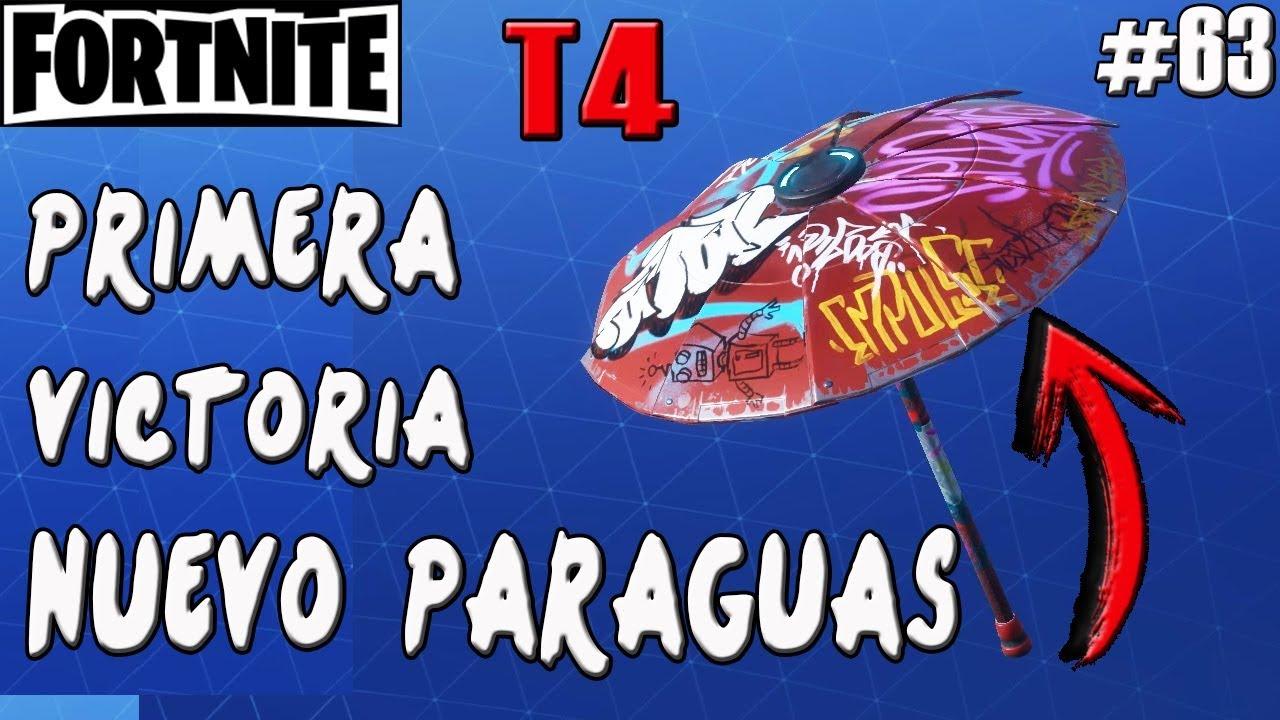 primera victoria de la temporada 4 nuevo paraguas fortnite battle royale gameplay espanol - paraguas fortnite temporada 6