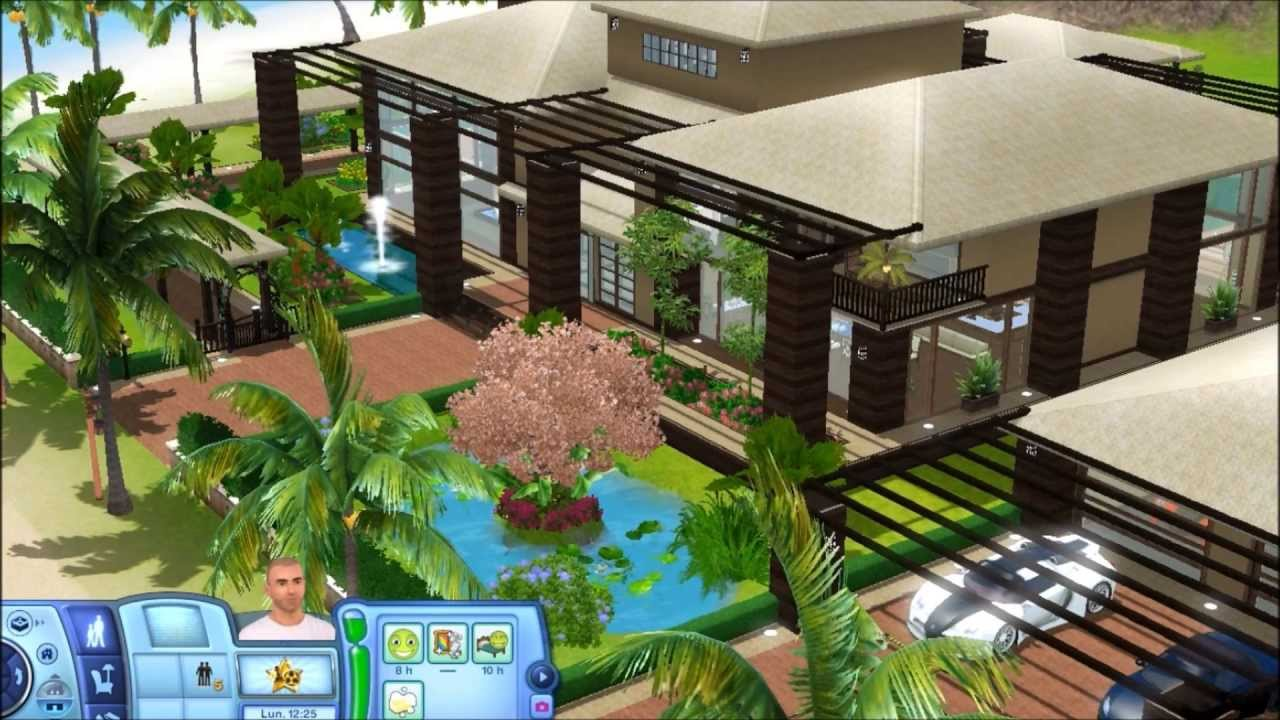 Sims 3 Tropical House (with plans) - YouTube