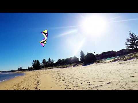 Revolution Reflex XX kite flying on sand flats (Auto-Glide + one hand intro) with Frankie