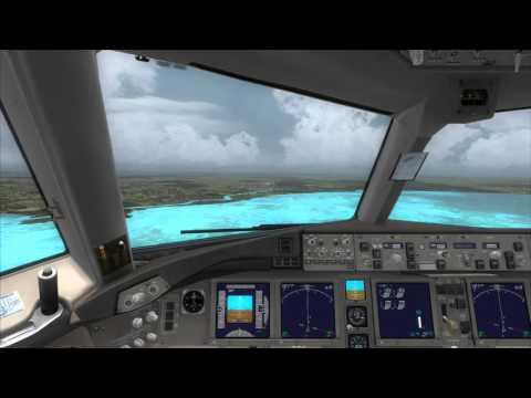 Cockpit Boeing 777-200LR landing at Belize [FSX]
