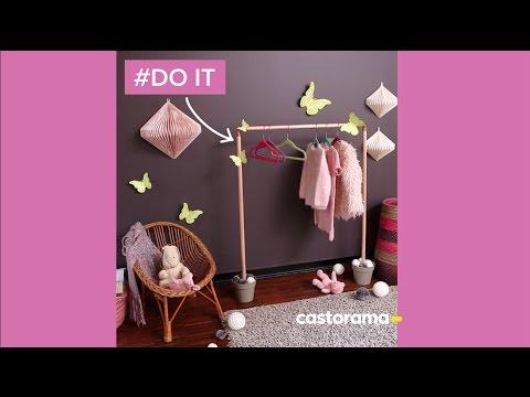 diy fabriquer un portant pour enfant en bois cuivre castorama youtube. Black Bedroom Furniture Sets. Home Design Ideas