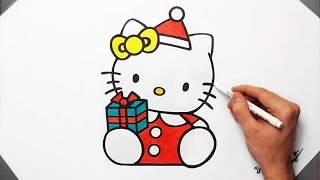 How To Draw Hello Kitty Christmas Edition   Fan Art Speed Drawing