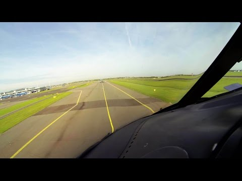 Boeing 747-400 Pilot's View - Take-Off Amsterdam Schiphol