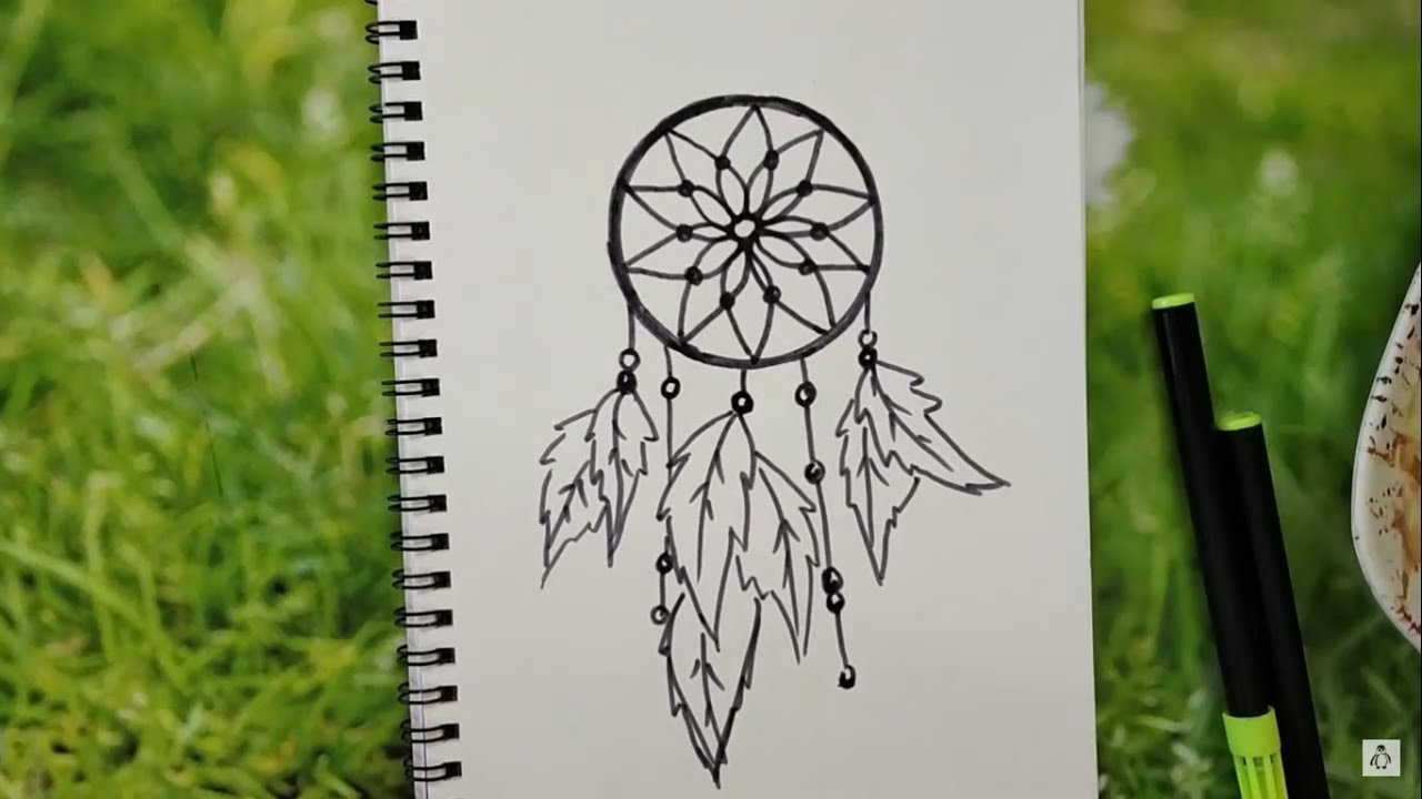 How To Draw Easy And Beautiful Dream Catcher Minimal Art Youtube