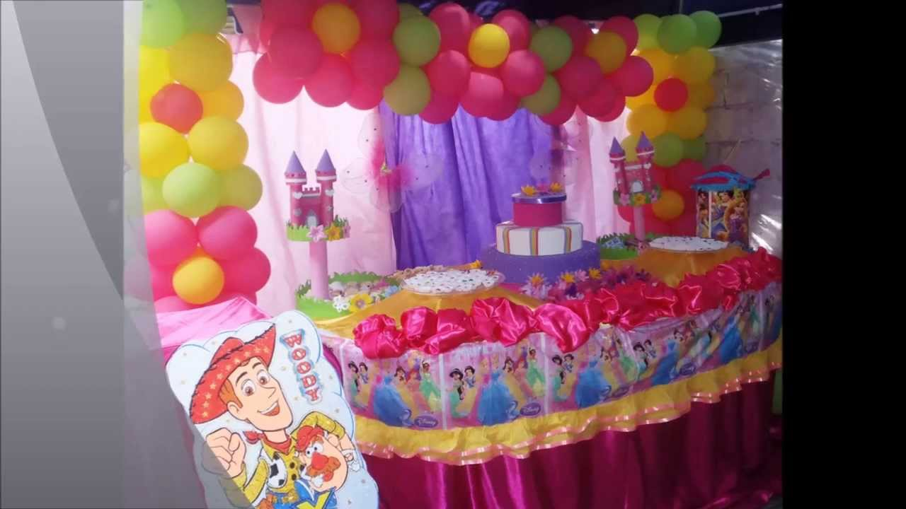 Decoracion princesas disney decorservifiestas youtube for Decoracion para ninos