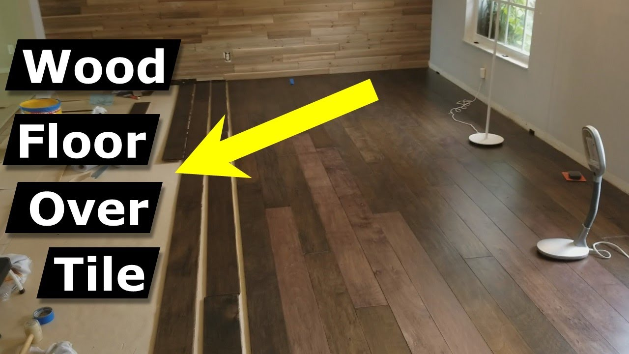 install hardwood flooring over tile floor double glue down method