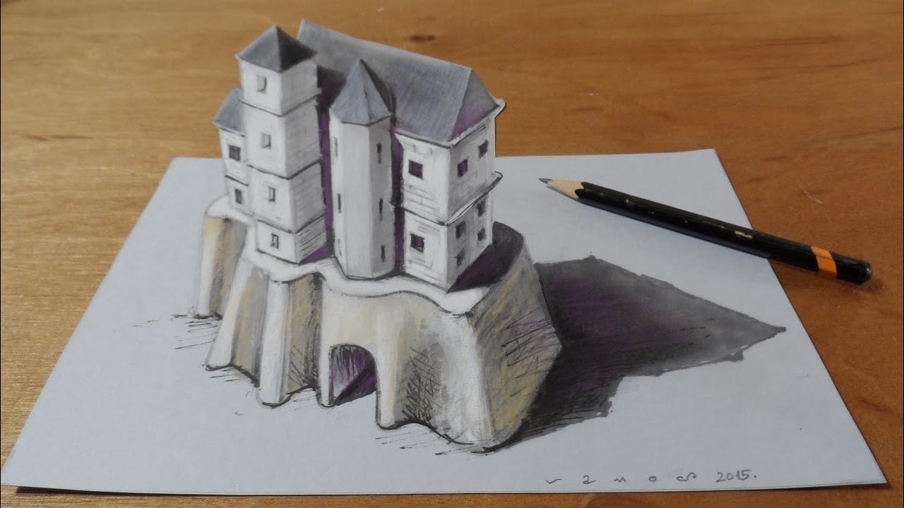 trick art drawing 3d castle on paper