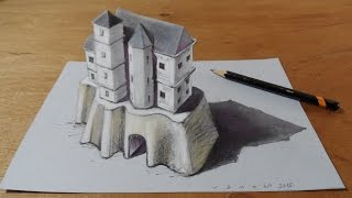 How I Draw a 3D Castle & Three Dimensional Space, Freehand Graphic