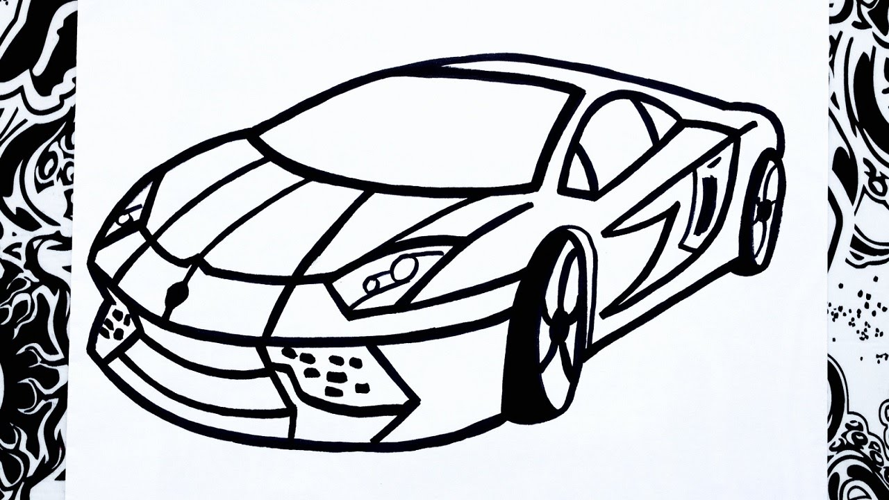 Como dibujar un carro  how to draw a car  YouTube