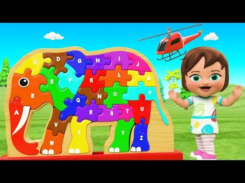 ABC Song for Children | Learn Alphabets for Kids with Little Baby Play Elephant Wooden Alphabet Toy