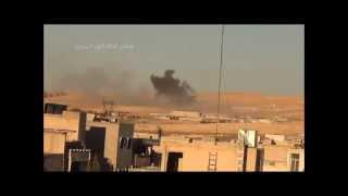 يبرود - القلمون : 13/2/2014 غارة من طيران الميغ على يبرود