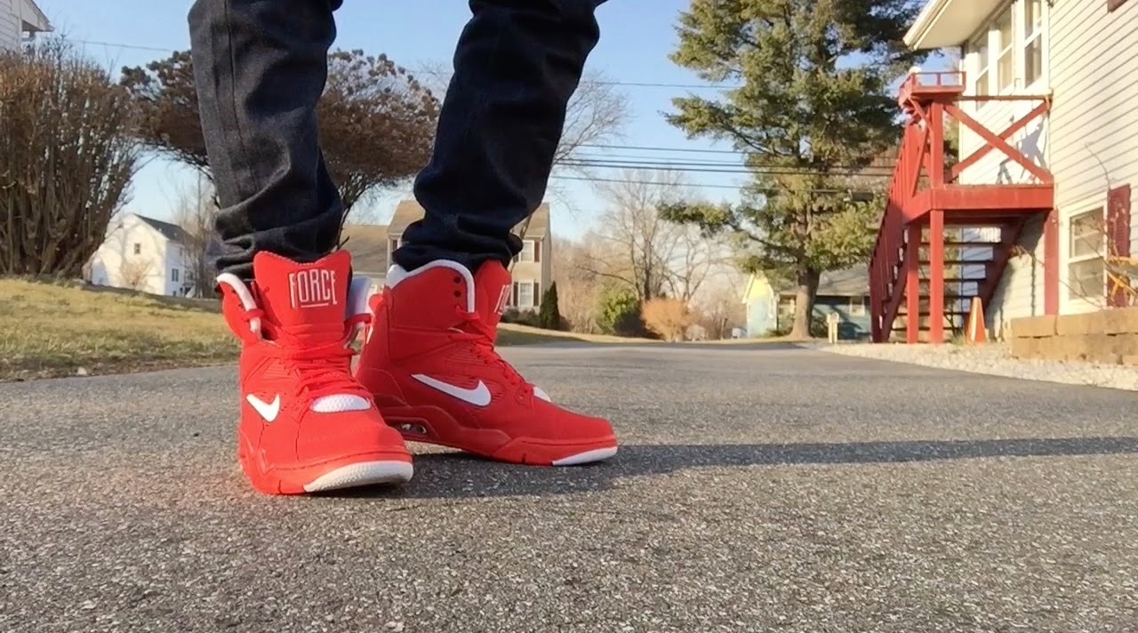 red nike air command force on feet
