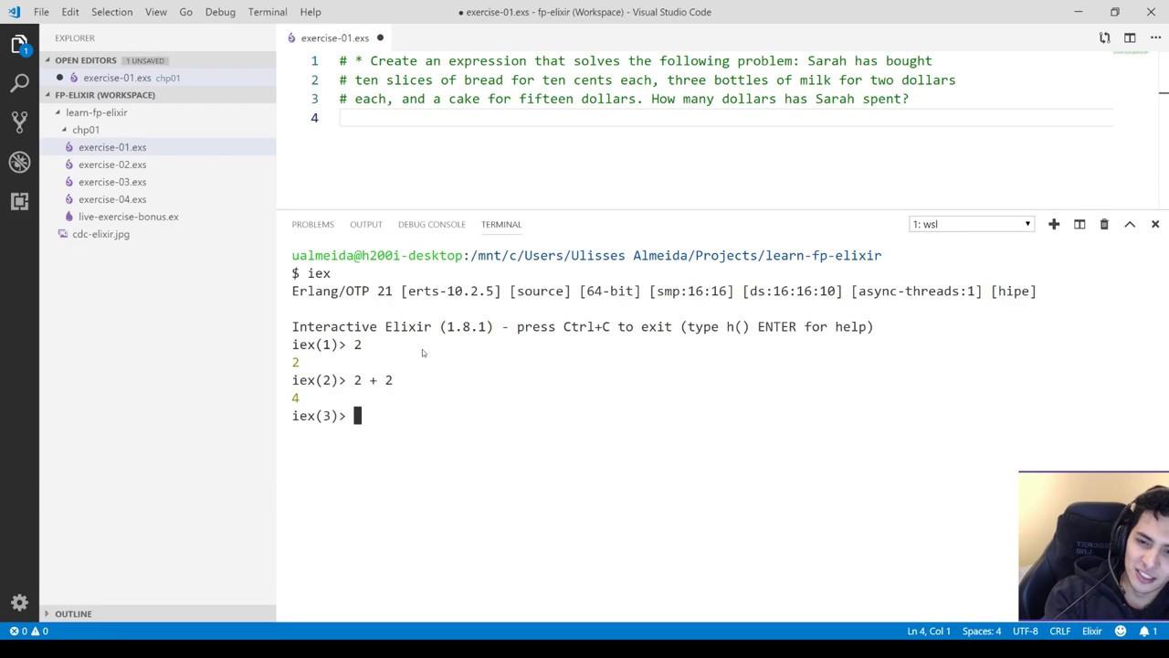Live Fazendo exercícios - Ep 01 - Learn Functional Programming with Elixir