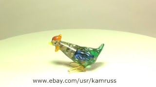 Blown Glass Art Murano CHICKEN Figurine Dollhouse Miniature Handmade Lampwork