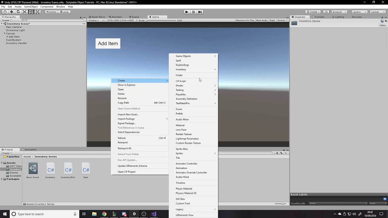 Item and Inventory System - Unity Tutorial - Creating Base Item Class
