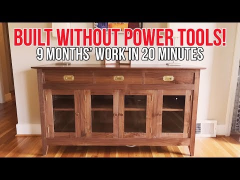 Walnut Sideboard Full Build—No Power Tools Used! | Hand Tool Woodworking